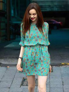 Green Floral Half Sleeve Elastic Waist Dress | abaday
