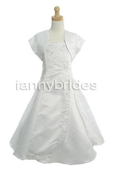 Simple Ball Gown Spaghetti Straps Short Sleeve Ankle Length Ruffles and Embroidery Taffeta First Communion Dress