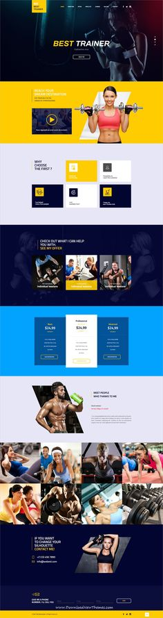 TheCapital is clean and modern design multipurpose PSD template for creative #gym and #fitness #trainers website with 14 niche homepage layouts and 40 layered PSD files to live preview & download click on image or Visit #webdesign