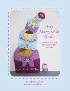 embroidered felt Matryoshka nesting doll PDF pattern by LittleDear (aka Aimee Ray) on Etsy