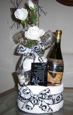 Towel Cake with Champagne <3