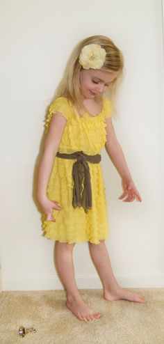 Yellow Ruffle Flower Girl Dress with Sash, Bridesmaid Dress, Junior Bridesmaid… Elegant Wedding, Rustic Wedding, Our Wedding, Dream Wedding, Wedding Ideas, Flower Girls, Flower Girl Dresses, Junior Bridesmaid Dresses, Wedding Dresses