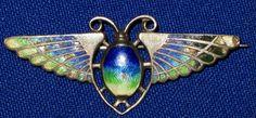 Art Deco Sterling Silver & Enamel Egyptian Revival Winged Scarab Beetle Brooch | eBay