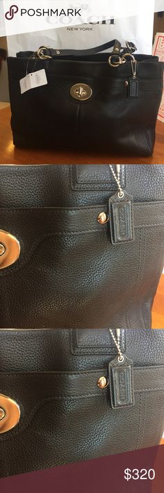 NWT Black pebble leather Coach purse NWT Black Pebble leather Coach purse. Three separate compartments, one zips closed, two open. Coach Bags Totes