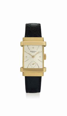 Patek Philippe. A fine 18K gold rectangular wristwatch with hooded lugs. circa 1944. #watch #ChristiesWatches