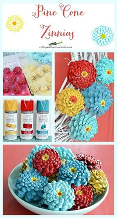 to Make Pine Cone Zinnias A tutorial about how to make these adorable pine cone zinnias! So realistic looking!A tutorial about how to make these adorable pine cone zinnias! So realistic looking! Diy Projects To Try, Crafts To Make, Craft Projects, Arts And Crafts, Paper Crafts, Diy Crafts, Craft Ideas, Beaded Crafts, Pine Cone Crafts For Kids