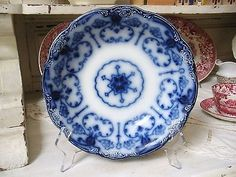 Beautiful Antique FLOW BLUE Bowl NEW WHARF POTTERY Conway Dish Porcelain