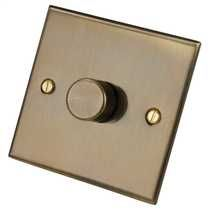 1 Gang 2 Way 400W Dimmer Switch Antique Brass