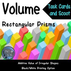 Use the volume formula to find the volume of cubes, rectangular prisms, and additive volume of irregular 3D shapes. Perfect review activity for individual, small group, or whole group instruction. Questions range in complexity and include width, length, depth, area of base, height, and finding the volume of rectangular prisms and irregular 3D shapes composed of two rectangular prisms.