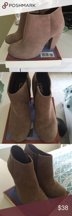 Candies Taupe Suede Booties, Size 6 Taupe suede booties, only gently worn twice, with inside zipper detail. Very cute and like new. Size 6. Candies Shoes Ankle Boots & Booties