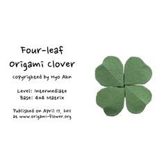 Introducing a Saint Patrick's Day origami shamrock (four-leaf clover)