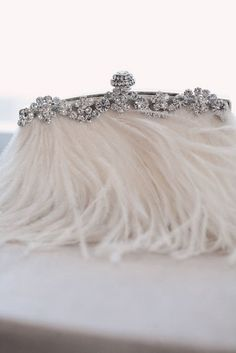 white | feathers | purse | clutch | rhinestones