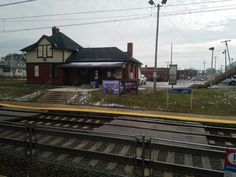 The Folcroft SEPTA regional rail station along the Wilmington/Newark line in Folcroft, PA. Administration buildings for Folcroft can be seen in the background.