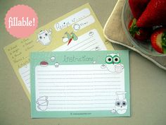 Owl printable recipe card (one version to print out blank, another to fill in first and then print)    This site will be dangerous for @AnnaKate Jackson, as it is all things owl.