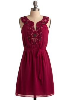 I love the color and the embroidered collar.  Could wear with metalic sandals and a pink cardigan.