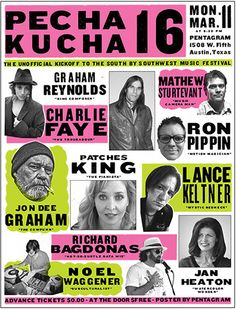 Poster for Pecha Kucha 16, held at Pentagram Austin earlier this year and timed to SXSW.