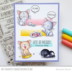 Time to Get Excited — the June Release Countdown Begins NOW – MFT Stamps Kittens And Puppies, Yarn Ball, Mft Stamps, Get Excited, Clear Stamps, Kittens Cutest, Your Cards, I Card, Cards