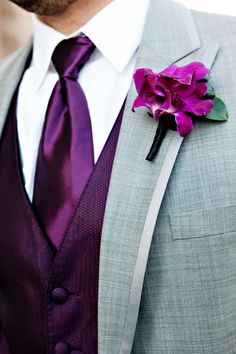 A beautiful colour paired with a stylish cut grey grooms suit. http://www.collection26.com/collection-26s-colour-picks-radiant-orchid/