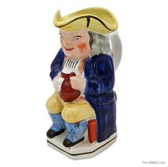 "Staffordshire pottery Toby jug, English, circa 1840.  Height 9""  http://www.the-maac.com/sooky-goodfriend?id=67=905=934&?_vsrefdom=pinterest"