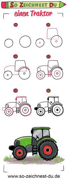 So zeichnest du einen Traktor. Mit unserer Zeichenschule zum Thema Bauernhof kannst du jetzt ganz einfach deinen eigenen Traktor zeichnen lernen. #sozeichnestdu #zeichnenlernen #traktor #zeichenschule