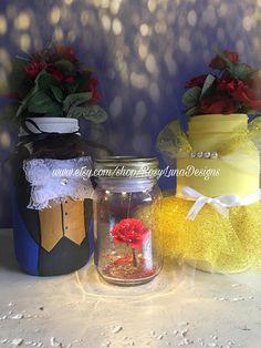 Beauty and the Beast mason jar set La Belle et la Bête fairy