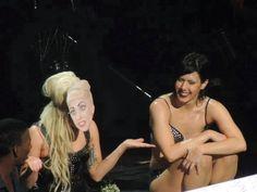 Lady Gaga wearing Lady Gaga mask made by fan, Born This Way Ball Tour