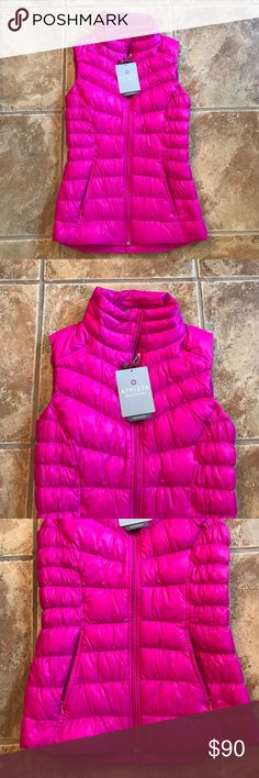 NWT Athleta Fuschia Pink Downalicious Deluxe Vest NWT's! Athleta Downalicious Deluxe Vest in Pink Fuschia Color. Size XXS. Super cute and flattering on! Great for Fall/winter! Super fun color! CHEAPER ON MERC! Athleta Jackets & Coats Vests