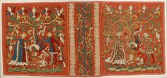 Embroideries with Allegorical Scenes Date: ca. 1450 Geography: Made in Lower Saxony, Germany Culture: German Medium: Silk and linen on woven linen ground with applied red pigment and black under- and overdrawing Dimensions: Overall: 11 9/16 x 25 in. (29.3 x 63.5 cm) Classification: Textiles-Embroidered