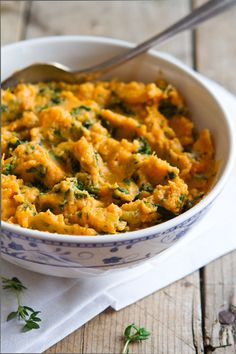 Kale & Goat Cheese Mashed Sweet Potato.