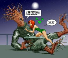 Marvel (Guardians of the Galaxy) / DC (Batman) - Groot and Poison Ivy (by Nick Perks)