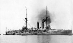 IJN Asahi(朝日) a Shikishima class preDreadnought battleship, built by John Brown & Co, Clydebank & commissioned on 28/04/00. On arriving in Japan she became the flagship of the standing fleet. Fought in every major naval battle of Russo-Japanese War. Saw no combat during WW I. In '21 reclassified as a Coastal Defence Ship being disarmed in '23. In '38 converted to a repair ship. torpedoed and sank by USS Salmon  on the night of 25-26/05/42 south east of Cape Padaran, Indochina.