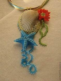 Купить Ракушка - ракушка, лето, морская звезда, пляж, море, ракушка, бисер японский чешский Seashell Jewelry, Diy Jewelry, Beaded Jewelry, Beach Crafts, Sea Shells, Embroidery Patterns, Dream Catcher, Crochet Necklace, Deco