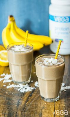Your taste buds will love coconut and banana mixed in with your favorite protein powder.