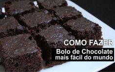 Essa receita de bolo de chocolate realmente é a mais fácil do mundo! Faz super rápido e sem nenhum segredo. Essa é a receita só da massa, você pode cobrir
