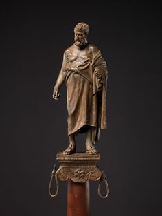 Bronze statuette of a philosopher on a lamp stand Period:Early Imperial, Augustan Date:late century B. Culture:Roman Medium:Bronze Dimensions:Overall: 10 in. Ancient Rome, Ancient Art, Ancient Greek, Rome Antique, Cleveland Museum Of Art, Getty Museum, Roman Art, Greek Art, Bronze Sculpture