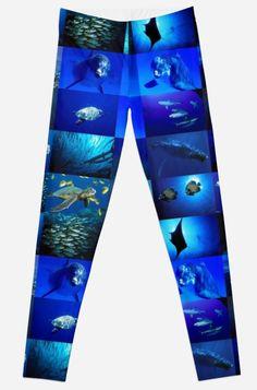 'Blue Planet Underwater World With Marine Animal Pattern Design' Leggings by Bithys Online Awesome Leggings, Best Leggings, Underwater World, Christmas Shopping, Hoodies, Sweatshirts, Pattern Design, Planets, Stationery
