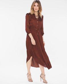 e64d6f15ec Chico's Women's Peasant Detail Dress, Rich Mahogany, Size: 4 (20/22