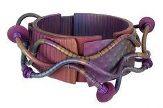 Wavy Bracelet by Sharon MacLeod, polymer clay.