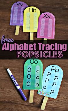 FREE Alphabet Tracing Popsicles - this free pritnable alphabet activity is a fun.FREE Alphabet Tracing Popsicles - this free pritnable alphabet activity is a fun way for preschool and kindergarten age kids to practice tracing lette. Alphabet Tracing, Alphabet Crafts, Learning The Alphabet, Printable Alphabet, Free Printable, Alphabet Games, Alphabet Coloring, Baby Learning, Learning Spanish