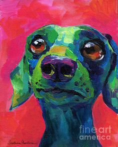 Whimsical dachshund dog pop art painting by Svetlana Novikova Contemporary Fine Art Dachshund Funny, Arte Dachshund, Dachshunds, Funny Dogs, Funny Paintings, Animal Paintings, Dog Pop Art, Dog Artwork, Dog Portraits