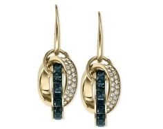 Michael Kors Gold-Tone Montana Baguette and Pave Link Drop Earrings