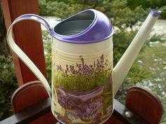 Konvička- Levandulová 2 #konvicka #zahrada #handmade #decoupage Watering Can, Decoupage, Canning, Home Canning, Conservation