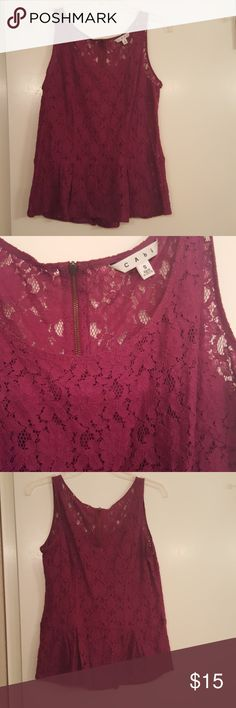 Cabi Lace Peplum Top Size small. Very pretty,  excellent condition. Non smoking owner. CAbi Tops