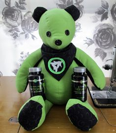"""Custom made """"It Works"""" Body Wrap Teddy Bear. It Works Body Wraps, Diy Teddy Bear, Crazy Wrap Thing, Vintage Buttons, Minions, Shabby Chic, Gadgets, Cotton Fabric, Sewing"""