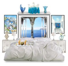 """""""Mediterranean Summer! Greek inspired bedroom"""" by varia3 ❤ liked on Polyvore featuring interior, interiors, interior design, home, home decor, interior decorating, WALL, CB2, Pier 1 Imports and Michael Aram"""