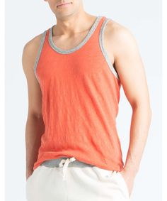 Solid Ringer Tank Top in Rusty Orange by Todd Snyder