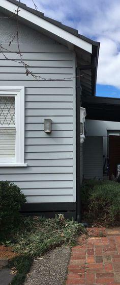 Grey Exterior Paint Colour Schemes - Grey Exterior Paint Colour Schemes, Dulux Momument Paint with White Trim with Images Exterior Gray Paint, White Exterior Houses, Exterior Paint Colors For House, Cottage Exterior, Paint Colors For Home, Exterior Colors, Paint Colours, Weatherboard House, House Paint Color Combination