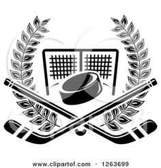 Clipart of a Black and White Hockey Puck and Crossed Sticks over a Goal Net in a Laurel Wreath - Royalty Free Vector Illustration by Seamartini Graphics