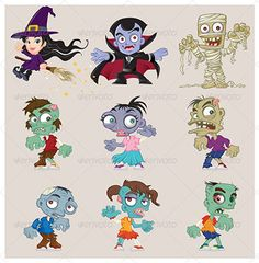 This set of Halloween characters has a witch, Frankenstein's monster, a mummy, the Grim Reaper, a witch, a vampire, and a zombie.