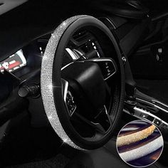 Diamond Leather Steering Wheel Cover with Crystal Rhinestones, Universal Fit 15 Inch Car Wheel Bling Car Accessories, Car Interior Accessories, Car Interior Decor, Car Accessories For Girls, Interior Design, Vehicle Accessories, Luxury Interior, Porsche Carrera Gt, Bentley Continental Gt